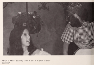 """A 1969 University of Mississippi yearbook shows Kappa Kappa Gamma sorority girls enacting a """"Gone With the Wind"""" skit. The caption, provided to the yearbook by the sorority, reads: """"Miss Scarlet, can I be a Kappa Kappa Gamma."""""""