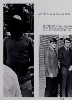 """The 1970 University of Mississippi yearbook shows a member of the Sigma Nu fraternity with darkened face and arms, wearing what appears to be a sombrero. The caption provided to the yearbook by the fraternity reads: """"Si, if only my name was Carlos."""""""