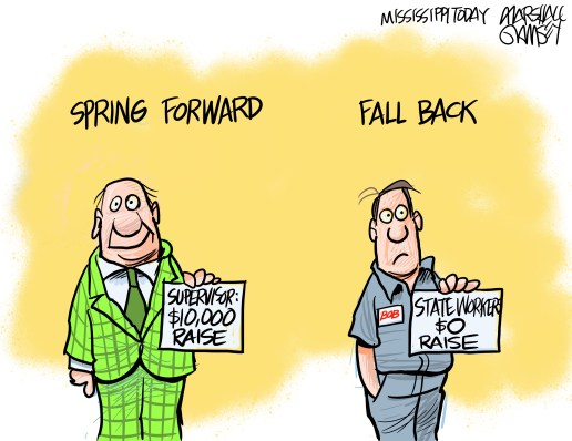 Supervisors' pay springs forward. State workers' pay falls back.
