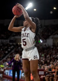 Mississippi State Anriel Howard (5) goes up for a shot during their NCAA tournament game against Clemson at Humphrey Coliseum in Starkville, Miss., Sunday, March 24, 2019.