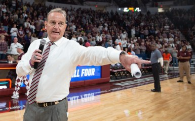 Mississippi State's Head Coach Vic Schaefer speaks to the audience after their win against Clemson in their NCAA tournament game at Humphrey Coliseum in Starkville, Miss., Sunday, March 24, 2019.