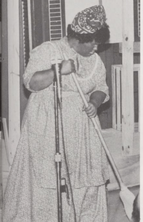 The caption for this photo, from the 1979 Mississippi College yearbook, reads: (student tribe) president Janice Thompson plays the maid in ST Gold Rush 1978.