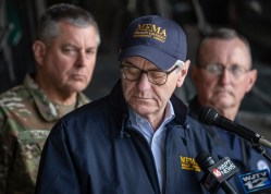 Governor Phil Bryant holds a press conference at the Mississippi National Guard's Army Aviation Support Facility after his aerial tour of the Mississippi River/Backwater Flooding Wednesday, April 3, 2019.