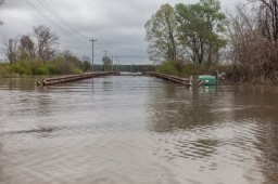 A flooded bridge is seen in Issaquena County County Friday, April 5, 2019.