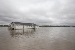 Flood waters surround Pleasant Grove Baptist Church in the Goose Lake community of Issaquena County, Friday, April 5, 2019.