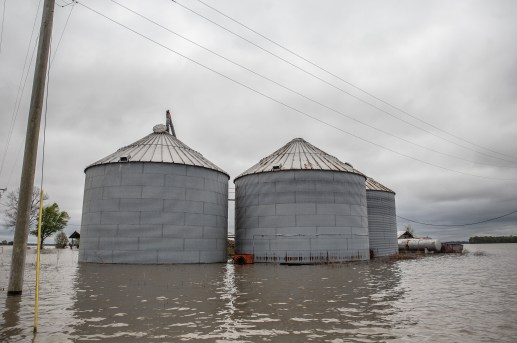 Floodwaters surround Grain silos in north Issaquena County, Miss., Friday, April 5, 2019.