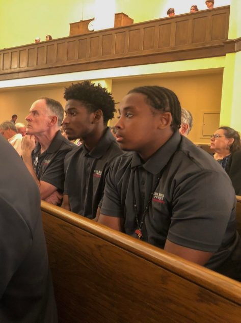 Students and teachers from St. Benedict's Preparatory School attend church service at First United Method Church in Clarksdale on May 18
