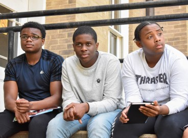 Students from St. Benedict's Preparatory School, an all-boys student led private school in Newark, New Jersey, listen to their peers talk about the significance of the courthouse to Emmett Till on May 17