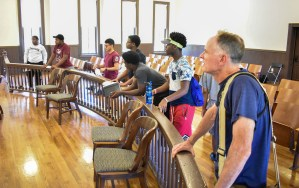 The students get a tour inside the courthouse in Sumner, where Emmett Tills trial took place.