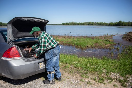Anderson Jones Sr., a 59-year-old lifelong Fitler, Miss. resident, prepares to walk through flood waters to get to his home on Monday, April 15, 2019. Jones, who is disabled, has to travel a little less than a mile to get to his home that is surrounded by flood water.