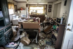 Damage caused by the flooding of Tchula Lake is seen in a home in Tchula, Miss., Thursday, May 9, 2019.