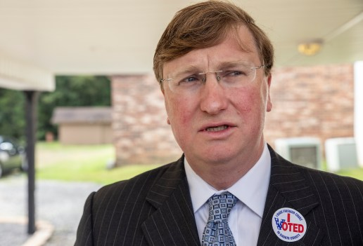 GOP gubernatorial candidate Tate Reeves speaks to media after voting at Liberty Baptist Church during the GOP runoff elections.