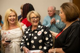 Dianne Peeples, the mother of Lt. Gov. Tate Reeves, shares a laugh with Reeves' supporters after hearing the news that her son won the GOP gubernatorial runoff Tuesday, August 27, 2019.