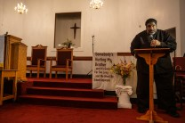 """Rev. Dr. William J. Barber II, president of Repairers of the Breach, and national co-chair of the """"Poor People's Campaign"""" speaks during the Poor People's Campaign: A National Call for Moral Revival during the Poor People's Campaign's """"Everybody's Got a Right to Live"""" mass moral meeting Liberty Missionary Baptist Church in Canton, Miss., Thursday, Aug. 29, 2019."""