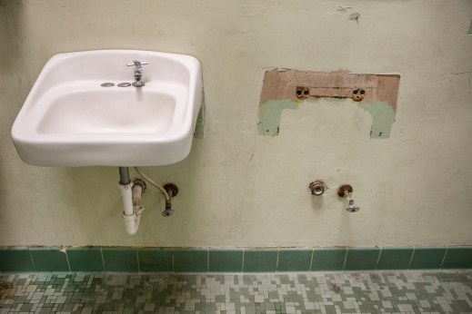 A missing sink in one of the bathrooms at Leland Elementary School.