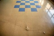 A damaged floor in the hallway of Leland High School.