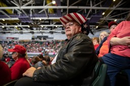 Lynn Wright waits for President Donald Trump during the Trump rally at BancorpSouth Arena in Tupelo, Miss., Friday, November 1, 2019.