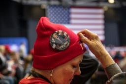 A Trump supporter waits for the president at his rally in the BancorpSouth Arena in Tupelo, Miss., Friday, November 1, 2019.