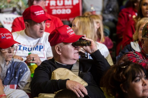A supporter attends the Trump rally at BancorpSouth Arena in Tupelo, Miss., Friday, November 1, 2019.