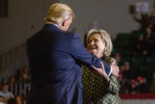 President Donald Trump embraces Sen. Cindy Hyde-Smith during a campaign rally at BancorpSouth Arena in Tupelo on Nov. 1, 2019.
