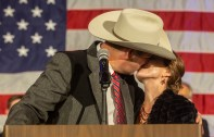 Andy Gipson kisses his wife at the Westin Jackson after being named Mississippi's new agriculture and commerce commissioner Tuesday, November 5, 2019..