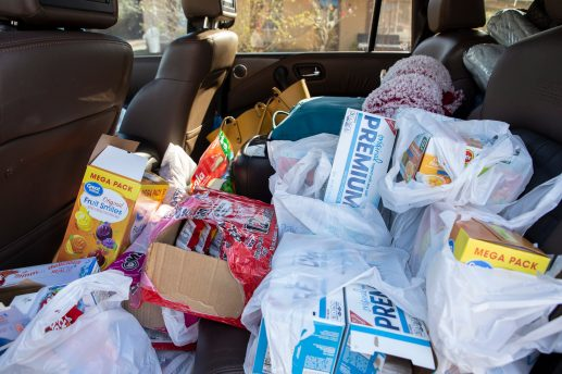 Donated items fill the back seat of Coretta Frazier's vehicle for those affected by the tornado that touched down in Edwards, Miss. on Monday.