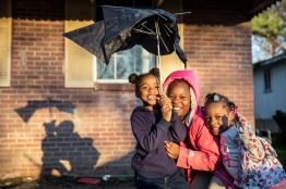 Mia Strickland, Laniya Strickland and Jameariah Moss, are photographed near Dabbs Street in Hattiesburg, Miss., Friday, February 21, 2020.