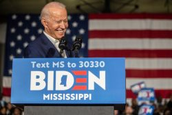 Joe Biden speaks to his supporters during a campaign event at Tougaloo College's Kroger Gymnasium Sunday, March 8, 2020.