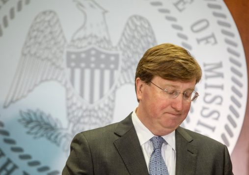 Gov. Tate Reeves speaks to media about his shelter-in-place order for Lauderdale County during a press conference at the State of Mississippi Woolfolk Building in Jackson, Miss., Tuesday, March 31, 2020.
