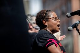 Jennifer Riley Collins speaks during the Black Lives Matter protest in downtown Jackson, Miss., Saturday, June 6, 2020.
