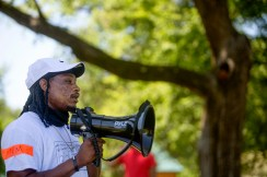 Jaafre Smith speaks during the Parents for Safe Schools Rally at Minnie Cox Park in Indianola, Miss., Thursday, July 23, 2020.