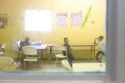 Younger children wait for their parents to pick them up after finishing virtual school at the Boys and Girls Club Sykes unit on Sept. 17, 2020.