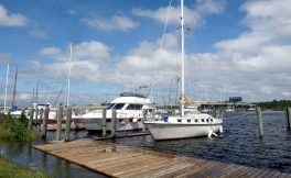Kremer Marine in Gulfport serves as a safe harbor for boats usually docked at locations along the Mississippi Gulf Coast. The boats are moved to safe waters to protect property when a hurricane approaches.