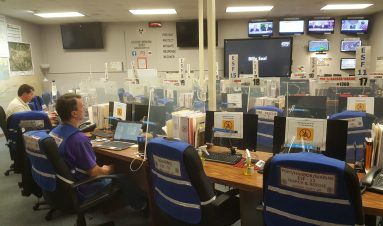 The Emergency Operations Center (EOC) employees wait for a briefing from Rupert Lacy concerning Hurricane Sally. The Mississippi Gulf Coast is bracing for this storm.
