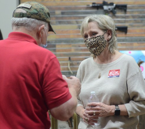Republican Sen. Cindy Hyde-Smith greets a supporter at a speaking event hosted by the Madison County Republican Women, the Rankin County Republican Women and the Hinds County Republican Women, Wednesday evening at The Range in Gluckstadt.