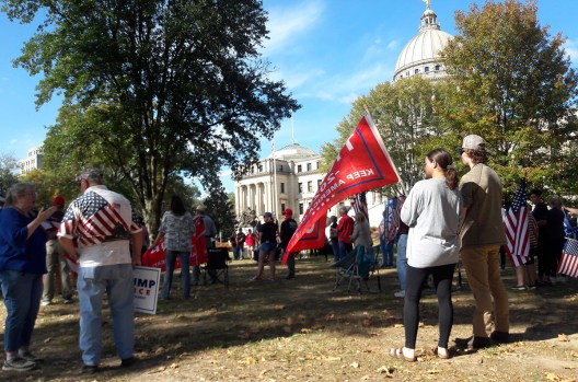 "A small group of Trump supporters gathered on the south lawn of the State Capitol to protest the outcome of the Presidential election. Protesters demanded a that every ""legal"" vote be counted."