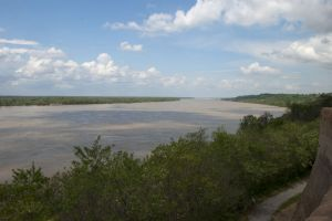 Looking down at the Mississippi River from Vicksburg, MS