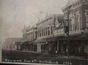 Keithsburg, IL in 1906, looking west from 4th and Main; courtesy of Sharon Reason Museum of Keithsburg