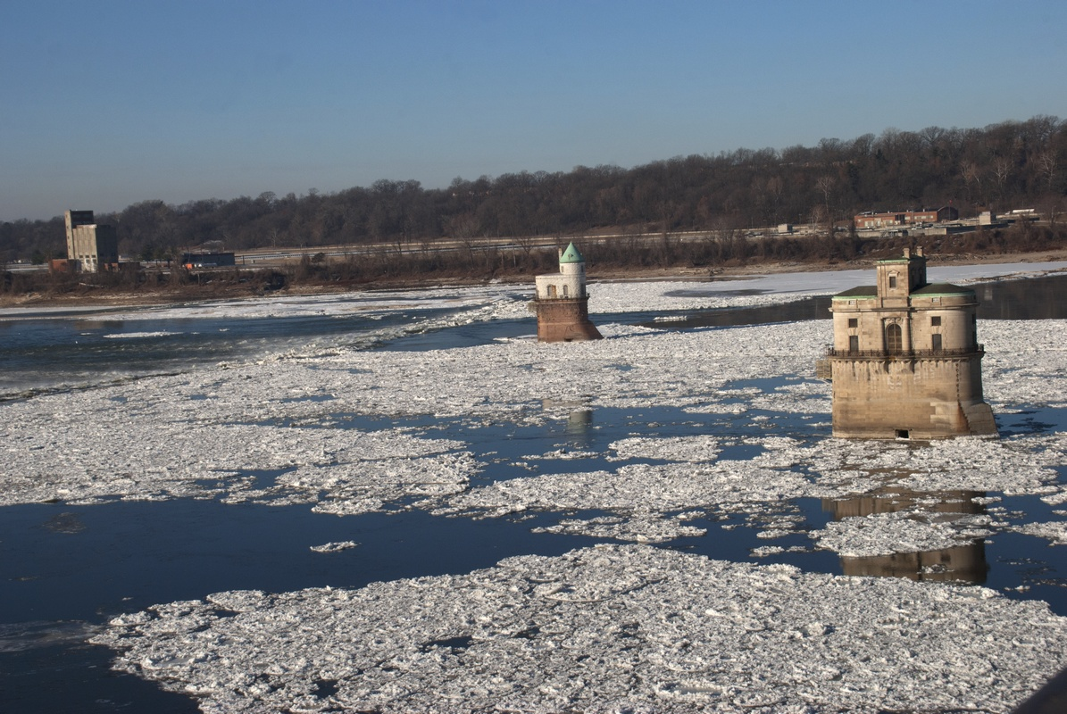 Ice surrounds water intake towers for St. Louis above the Chain of Rocks on the Mississippi River