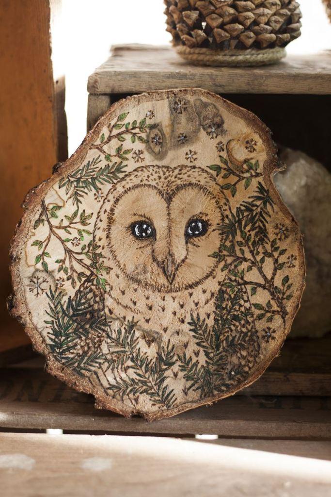 chouette effraie, oiseau, décoration, artisanat français, écologique, nature, atelier de la lettre aux ours, missive to bears, suspension murale