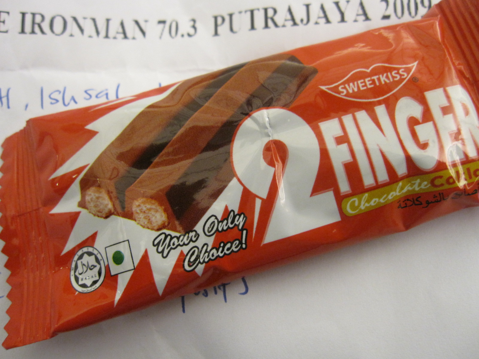 The chocolate bar from the race kit