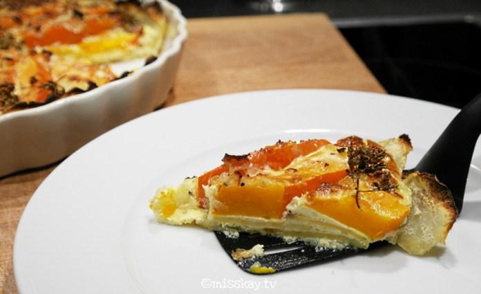 Hokkaido Quiche Lorraine mit Süßkartoffelkruste