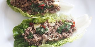 Salat Wraps mit Rinderhack