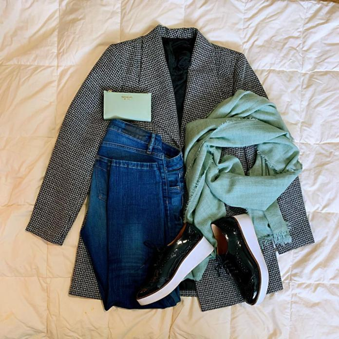 Fall outfit with chunky sole loafers