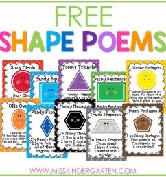 2D Shape Poems Free Download - Miss Kindergarten [ 1200 x 1200 Pixel ]