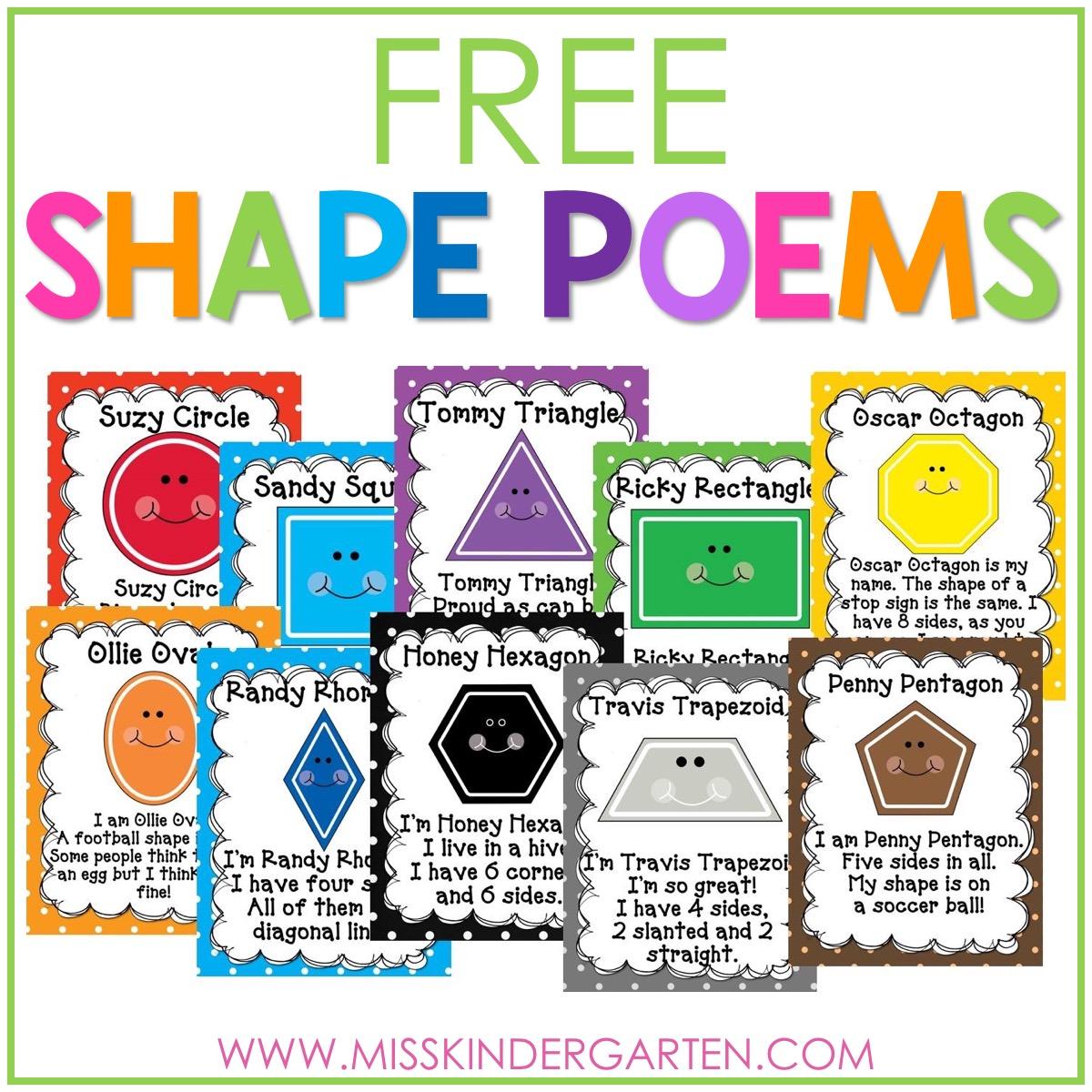 hight resolution of 2D Shape Poems Free Download - Miss Kindergarten
