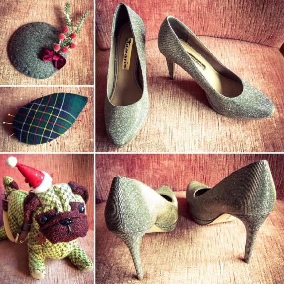 Miss Kittenheel vintage plussize style glitter platform heels fascinator hat pug handbag