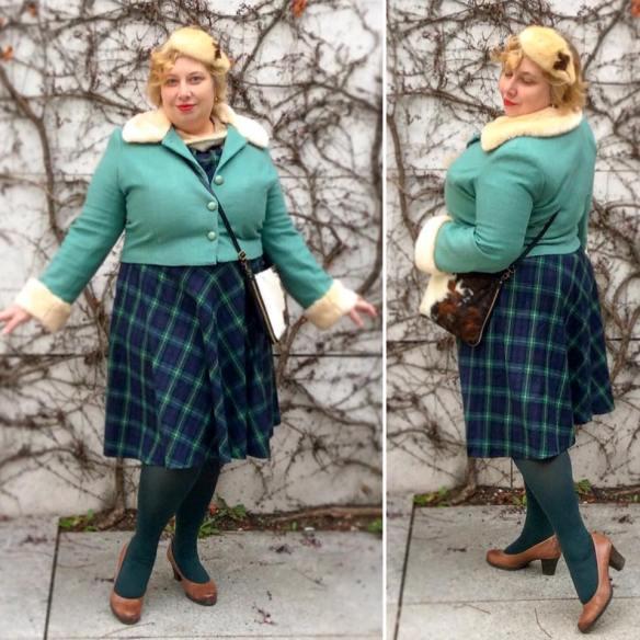 Miss Kittenheel Vintage Plaussize Style Boden Collectif Marianne Suit Tartan Tweed Fur