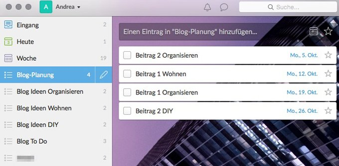 Blogplanung in Wunderlist