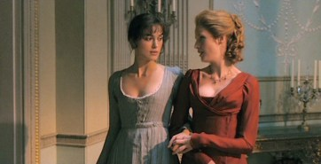 Keira Knightley as Elizabeth Bennet and Kelly Reilly as Caroline Bingley